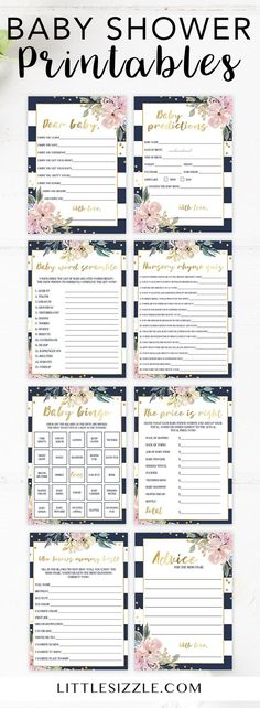 Popular baby shower games printables by LittleSizzle. Gender neutral baby shower printables. These pretty floral, pink and gold, navy stripes baby shower games are perfect for any girl baby shower or gender neutral baby shower. Simply download and print the Kate inspired baby shower games in minutes. Complete the look with our matching baby shower invitation templates and printable baby shower tags and labels. #babyshowergames #babyshowerideas #printables #DIY