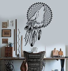 Vinyl Wall Decals Dream Catcher Wolf Bedroom Dreamcatcher Ethnic Stickers (ig3620)