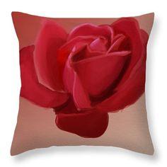 """Red elegant Rose #Throw #Pillow 14"""" x 14"""""""