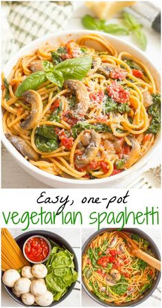 Vegetarian spaghetti with mushrooms and spinach makes an easy, healthy one pot pasta dinner that's ready in 25 minutes! Vegetarian spaghetti with mushrooms and spinach makes an easy, healthy one pot pasta dinner that's ready in 25 minutes! Vegetarian Spaghetti, One Pot Vegetarian, Vegan Pasta, Vegetarian Dinners, Spaghetti Spinach, Spaghetti Dinner, Vegetarian Cooking, One Pot Spaghetti, Spaghetti Recipes