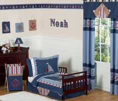 Nautical Nights Boys Sailboat Toddler Bedding 5 pc set * Check out this great product.