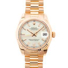 Rolex 18K Rose Gold Midsize Datejust White Stick Dial 18K Rose Gold Fluted Bezel President Bracelet