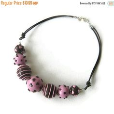 Pink Bead Necklace  SALE  Statement Necklace for by Lottieoflondon