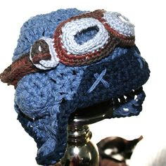 Blue Aviator Hat Set with Goggles  Cotton by TheEnchantedSquare, $30.00