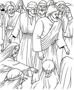 Touching Jesus Coloring Page, hem of the Garment, St. Veronica, July 12