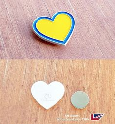Attractive white dye plated heart badge with strong round magnet fixing. Name Badges, Pin Badges, Make Your Own Badge, Custom Badges, Round Magnets, Plating, Enamel, Strong, Jewellery