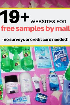 Free samples by mail without any surveys or credit cards needed! From cosmetic to makeup, baby, pet items and more, you're bound to find it. samples Free Sample Without Surveys Free Samples Without Surveys, Free Samples By Mail, Free Stuff By Mail, Get Free Stuff, Free Baby Stuff, Baby Samples, Free Beauty Samples, Free Makeup Samples, Couponing For Beginners