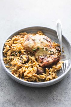 Slow Cooker Parmesan Herb Chicken & Orzo | lecremedelacrumb.com