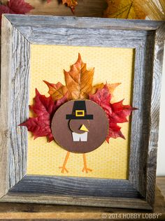Let the kids join in on the Thanksgiving fun by creating this gobbling turkey! Frame their creations for a unified look.