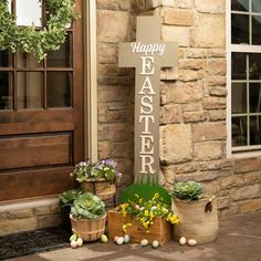 37 Gorgeous Farmhouse Front Door Ideas to Give Your Home a Makeover - The Trending House Front Porch Signs, Front Door Decor, Front Porch Decorations, Church Decorations, Front Doors, Easter Projects, Easter Ideas, Easter Cross, Diy Easter Decorations