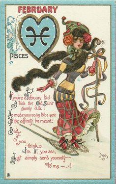FEBRUARY DWIG (C.V. Dwiggins), Zodiac card