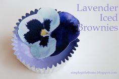 "Lavender Iced Brownies ~ paper ""sugar"" pansies which are printed on edible paper sugar"