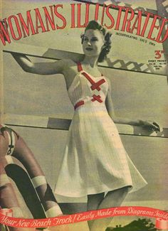 """Lovely nautical dress with red accents """"July of 1940 Woman's Illustrated"""" #nautical #40sfashion #1940s"""