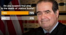 "POLL: 79% SUSPECT ""FOUL PLAY"" IN DEATH OF ANTONIN SCALIA Nearly eight out of ten think there might be a cover-up"