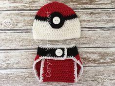 Baby Pokemon Pokeball Hat Diaper Cover Set by CarynsYarnBasket