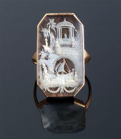 Antique Gold Scrimshaw Oriental Scene Ring ~ M.S. Rau Antiques, $12,000.00
