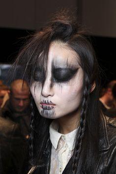 Vivienne Westwood backstage, focus on makeup, during the Paris Fashion Week Fall 2011