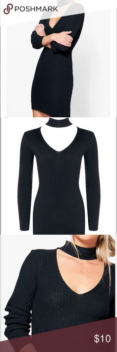 BooHoo Savannah choker dress Black, long sleeve, sweater material, choker attached.. Size M, Never Worn Boohoo Dresses