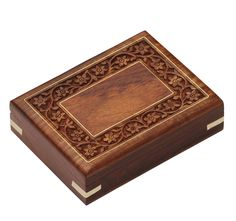 """Valuable Treasures – Handmade 6"""" Wooden Jewelry Box/ Keepsake with Intricate Carving on the Surface - Buy in Bulk Wholesale"""
