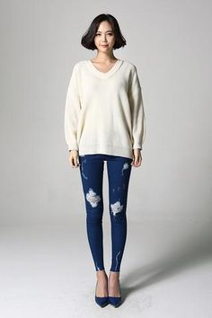 Back Ribbon V-neck Knit OP-S