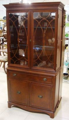 Glass door cabinet for dishes and so much more.