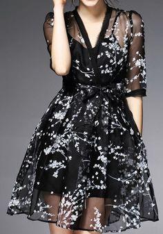 Black Floral Grenadine 2-in-1 V-neck Fashion Polyester Midi Dress