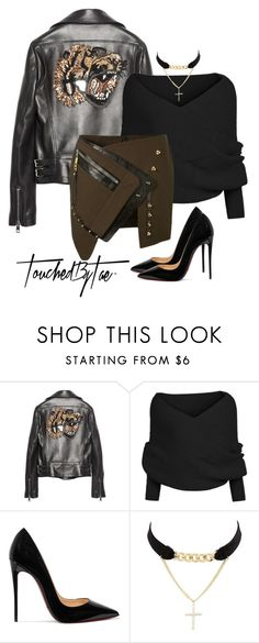 """""""Untitled #281"""" by iamtaecarter ❤ liked on Polyvore featuring Gucci, Christian Louboutin, Charlotte Russe and Anthony Vaccarello"""