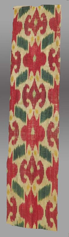"""VINTAGE WALL HANGING  Antique Silk Ikat Panel, Central Asia, 19th c., 10.5"""" x 3' 10"""" (excluding the mount) - Free Shipping"""