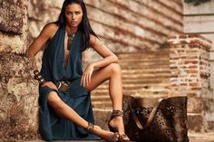 DONNA KARAN SS SUMMER SPRING 2014 AD CAMPAIGN ADRIANA LIMA BRONZE BEAUTY TAN SOUTHWESTERN COWBOY INSPIRED LEATHER JEWELRY NECKLACES BRACELET...