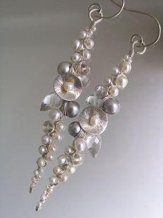 Pearl Encrusted Earrings Linear Pearl Earrings by bellajewelsII