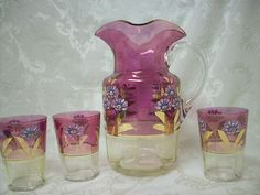 Vintage Cranberry/Yellow Handpainted Handblown Pitcher w/ 3 Handpainted Glasses