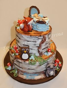 Woodland Animals Theme Baby Shower Cake