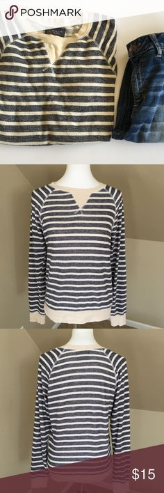 """Navy & Cream Striped Sweatshirt Wallin & Bros Sweatshirt from Nordstrom.  Like new condition.  Comfy and soft!  Chest 20"""" Length 25""""  74% cotton 38% Poly                            Thank you for looking and please check out the rest of my closet.  New items are added every week! Nordstrom Tops Sweatshirts & Hoodies"""
