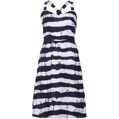 Sugarhill Boutique Nautical Stripe Sundress (74 SGD) ❤ liked on Polyvore featuring dresses, lullabies, navy, sale, navy sundress, full skirt, blue striped dress, navy stripe dress and blue fit and flare dress