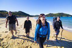 Walkers on the Abel Tasman Coast Track. Abel Tasman National Park, Great Walks, Work Visa, Parks And Recreation, North Face Backpack, First World, New Zealand, Countryside, National Parks
