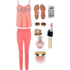 Salmon day by troixmac on Polyvore featuring polyvore, fashion, style, maurices, Jane Norman, Aéropostale, Wallis, Eloquii, Yves Saint Laurent, Isaac Mizrahi and MAC Cosmetics