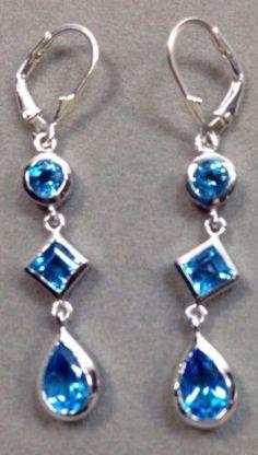 .925 Sterling Silver Earrings Bezel Set Round-Square-Pear Blue Topaz