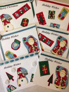 6 Handmade Holiday Christmas Greeting Cards and by TMStreasures