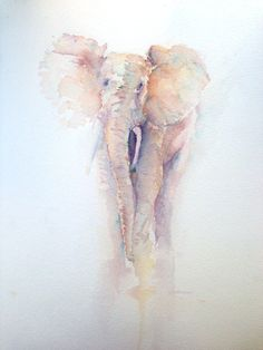 Elephant original watercolour painting by Rachaelizaart on Etsy, £125.00