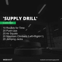 10 Rounds for Time: 20 Push-Ups; Push Up Workout, Wod Workout, Travel Workout, Crossfit Workouts At Home, Air Squats, Bodybuilding Motivation, Weight Training, Body Weight, Monthly Workouts