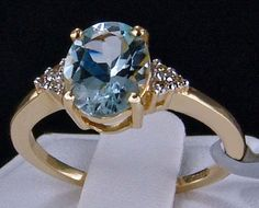 1.16cts. Genuine Aquamarine Solitaire with Diamonds 10k Solid Gold Ring, Size 7. Visit my eBay store for this and more beautiful genuine earth-mined gemstone jewelry! http://stores.ebay.com/hm-fine-jewelry-and-more #birthstonerings #birthstones #rings #gems #jewels #jewelry #finejewelry #gemstonejewelry #genuinegemstonerings #glitzandglam #glam #style #fashion #bling #Aquamarine #aquamarinerings