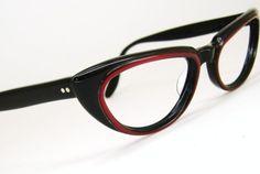 Beautiful+Black+Red+Cat+Eye+Eyeglasses+Frame+by+Vintage50sEyewear