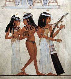 Ancient Egyptian tomb mural from the Tomb of Nakht, reproduced in oil paint on a textured wooden panel by Thomas Baker