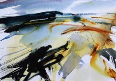 View from Shutlingsloe Abstract landscape watercolour by Adrian Homersham Watercolor Sketchbook, Watercolor Paintings Abstract, Watercolor Artists, Watercolor Landscape, Watercolor And Ink, Abstract Landscape, Landscape Paintings, Abstract Art, Watercolors