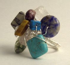 Natural Stone Cluster Ring