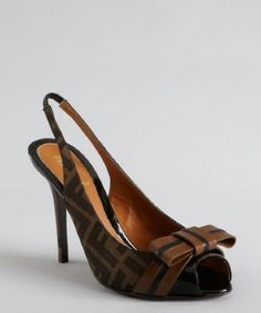 Fendi: tobacco zucca canvas and leather bow slingback pumps on sale for $495.00.  Retail: $620.00