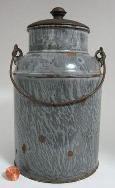 Originial Antique Grey Swirl Graniteware Cream Milk Can with Lid