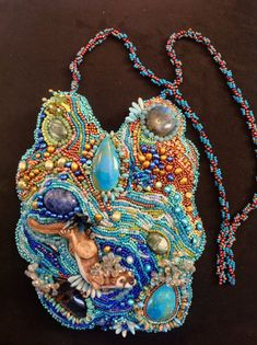 SOLD! Custom created . Another beautiful Laura Mears porcelain cabachon surrounded by seed bead embroidery and semi precious stone on Etsy, $590.16 AUD