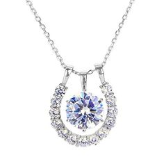 EVER FAITH 925 Sterling Silver Cubic Zirconia Elegant Horseshoe Pendant Necklace Chain Italty Clear ** Want additional info? Click on the image.
