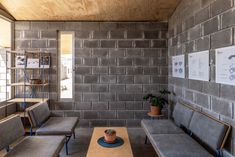 Concrete Block Walls, Concrete Houses, Social Housing Architecture, Interior Architecture, Concrete Interiors, Brick Construction, Grey Houses, Swedish House, Industrial Interiors